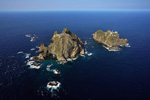Dokdo viewed from the sky